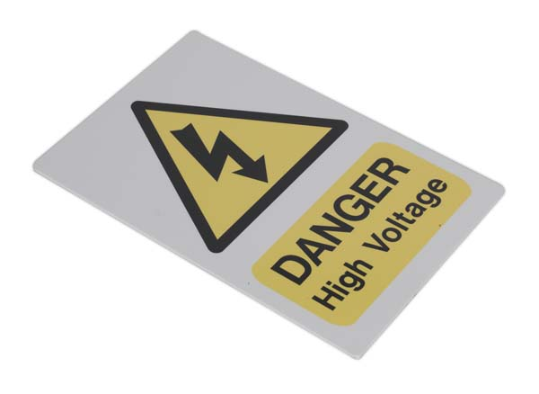 Sealey - HVSA4  High Voltage Warning Sign 200 x 300mm