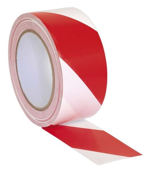 Sealey - HWTRW  Hazard Warning Tape 50mm x 33mtr Red/White