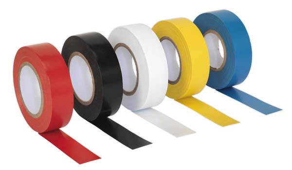 Sealey - ITMIX10  PVC Insulating Tape 19mm x 20mtr Mixed Colours Pack of 10