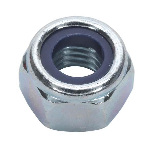 Sealey - NLN10  Nylon Lock Nut M10 Zinc DIN 982 Pack of 100