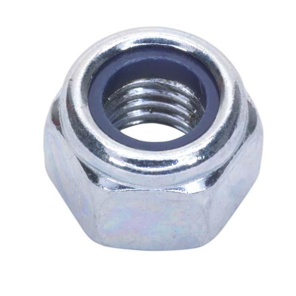 Sealey - NLN8  Nylon Lock Nut M8 Zinc DIN 982 Pack of 100