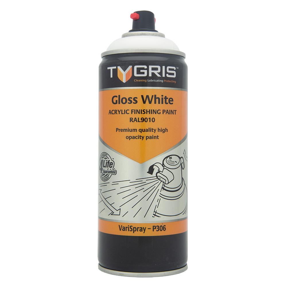 TYGRIS  Gloss White Paint - RAL9010 400ml Aerosol  P306