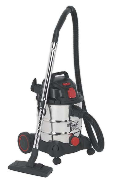 Sealey - PC200SDAUTO  Vacuum Cleaner Industrial 20ltr 1400W/230V Stainless Drum Auto Start