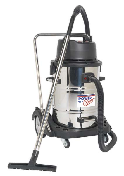 Sealey - PC477  Industrial Wet & Dry Vacuum Cleaner 77ltr Stainless Drum 2400W/230V Swivel Drum Empty