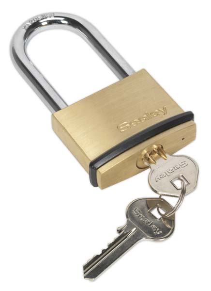 Sealey - PL202L  Brass Body Padlock Long Shackle 50mm