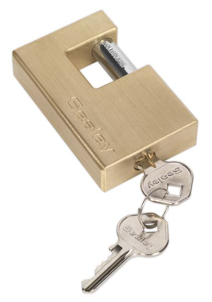 Sealey - PL209  Brass Shutter Padlock 76mm