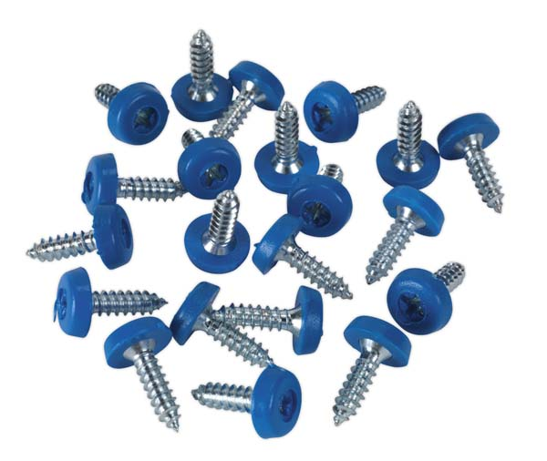 Sealey - PTNP4  Number Plate Screw Plastic Enclosed Head 4.8 x 18mm Blue Pack of 50