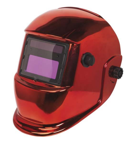 Sealey - PWH598R  Welding Helmet Auto Darkening Shade 9-13 - Red