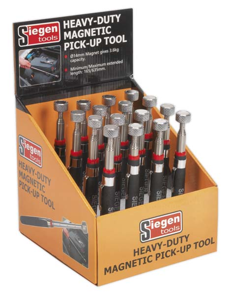 Sealey - S0823DB  Heavy-Duty Magnetic Pick-Up Tool 3.6kg Capacity Display Box of 16