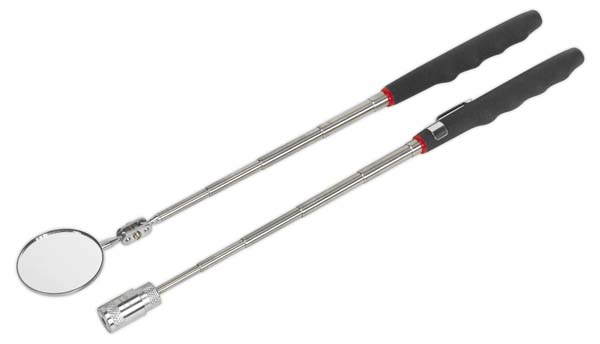 Sealey - S0941  Telescopic Magnetic LED Pick-Up Tool & Inspection Mirror Set 2pc