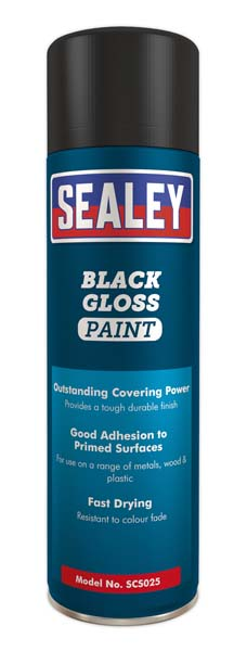 Sealey - SCS025  Black Gloss Paint 500ml Pack of 6