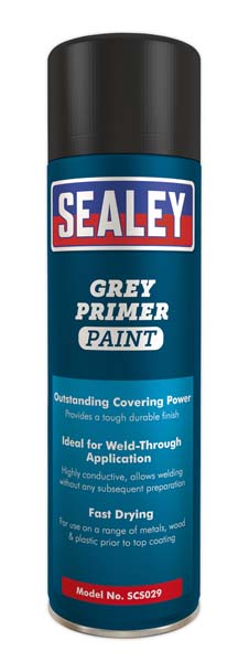Sealey - SCS029  Grey Primer Paint 500ml Pack of 6