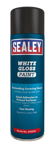 Sealey - SCS032  White Gloss Paint 500ml Pack of 6