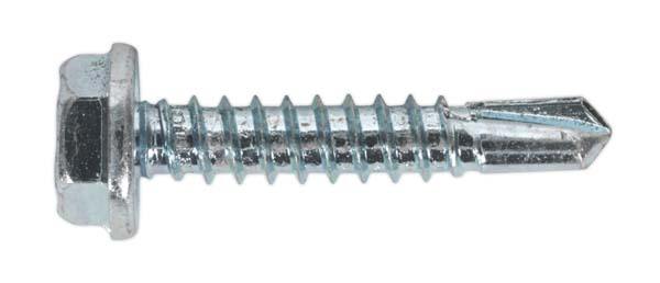 Sealey - SDHX4825  Self Drilling Screw 4.8 x 25mm Hex Head Zinc DIN 7504K Pack of 100