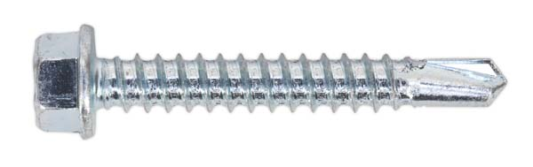 Sealey - SDHX5538  Self Drilling Screw 5.5 x 38mm Hex Head Zinc DIN 7504K Pack of 100