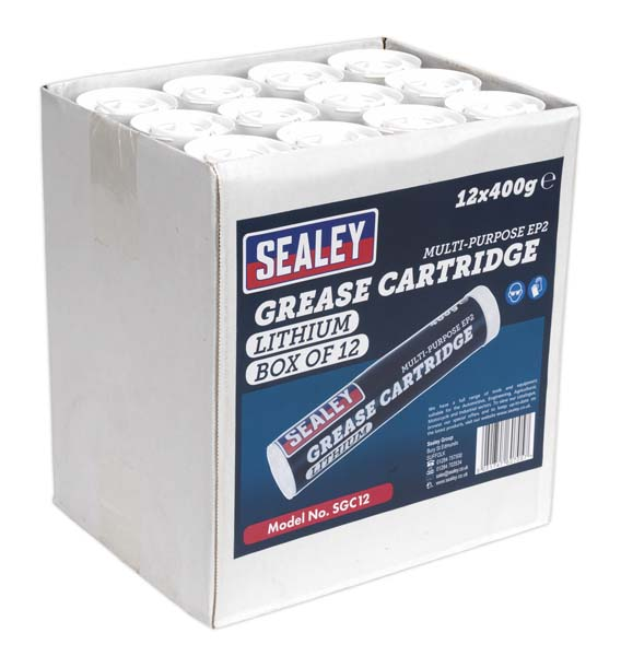 Sealey - SGC12  Grease Cartridge EP2 Lithium 400g Pack of 12
