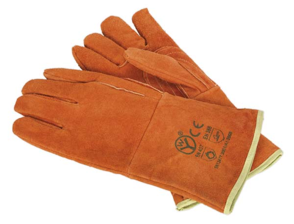 Sealey - SSP151  Leather Welding Gauntlets Lined Heavy-Duty - Pair