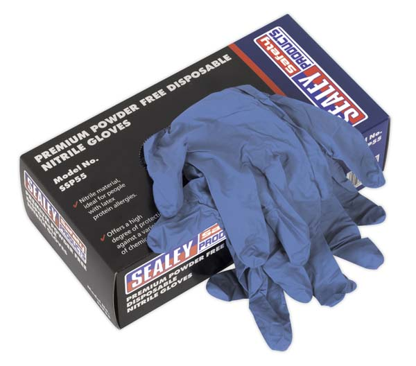 Sealey - SSP55S  Premium Powder Free Disposable Nitrile Gloves Small Pack of 100