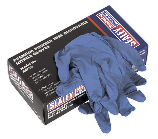 Sealey - SSP55XL  Premium Powder Free Disposable Nitrile Gloves Extra- Large Pack of 100