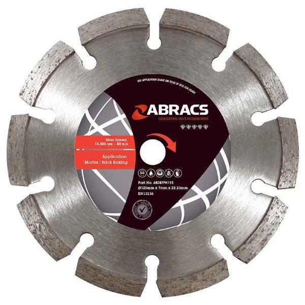 Abracs Diamond Brick Raking Blade 125mm x 7mm x 22mm