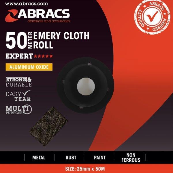 Abracs Emery Roll 25mm x 50M x 40grit