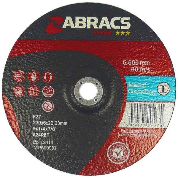 Abracs  PROFLEX 100mm x 6mm x 16mm DPC METAL GRINDING DISCS