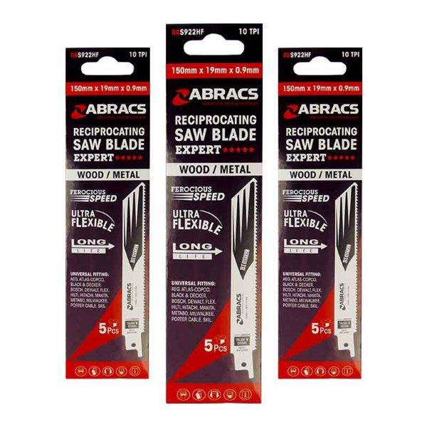Abracs   Recip Saw Blade 225x19x1.25mm Wood/Metal (5)